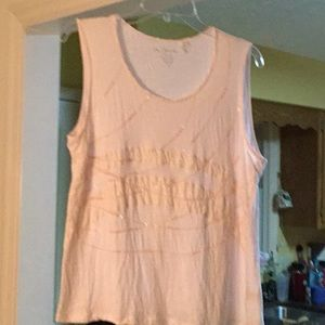Chico L size 2 pale pink embellished tank top